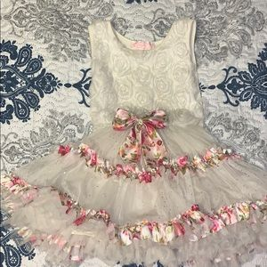 Toddler Girls Floral and Off White dress